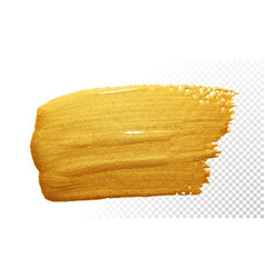 Gold color paint brush stroke acrylic golden vector