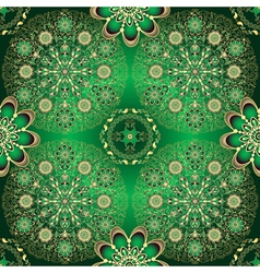 Golden and green seamless pattern vector image