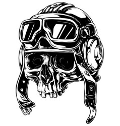 Graphic detailed old skull in retro pilot helmet vector