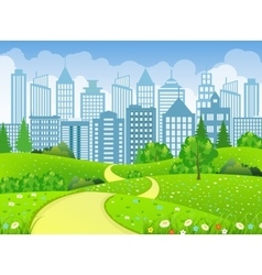 Green City Landscape with road vector image