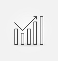 Growing graph icon in thin line style vector