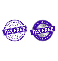 grunge stamp and silver label tax free vector image