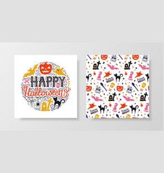 happy halloween set with lettering and seamless vector image