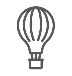 hot air balloon line icon airship and flight vector image