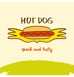 Hot dog logo Hand drawn logo Lettering Quick vector image vector image