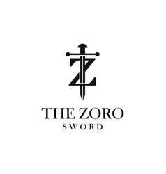 letter z with sword logo design vector image