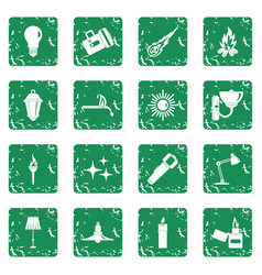 Light source symbols icons set grunge vector