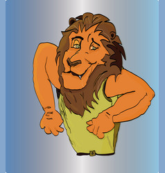 lion in pose vigorous bodybuilder gesticulation vector image