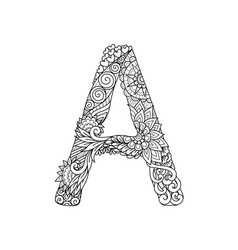 Mandala letter a monogram adult coloring book en vector