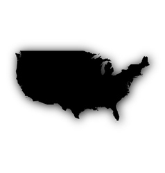 Map of the USA with shadow vector image