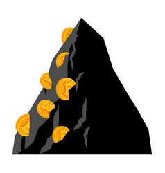 mining bitcoin in rock extraction crypto currency vector image