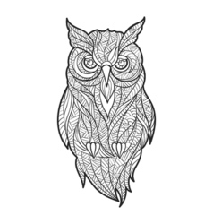 Monochrome hand drawn zentagle of owl vector