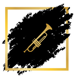 Musical instrument trumpet sign golden vector