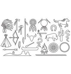 native american indians thin line icons set vector image