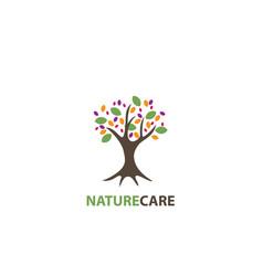 nature care tree design logo vector image