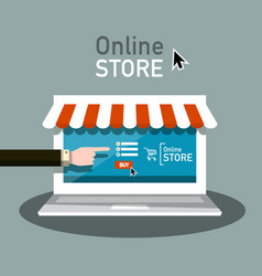 online store symbol e shop icon with hand and vector image