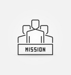 people with mission icon in outline style vector image