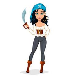 Pirate woman beautiful lady cartoon character vector
