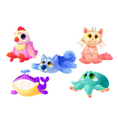 plush animals funny soft toys for children vector image