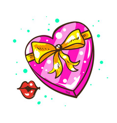 present heart shaped gift box with ribbon bow and vector image