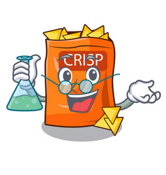Professor crispy potato chips in bowl cartoon vector