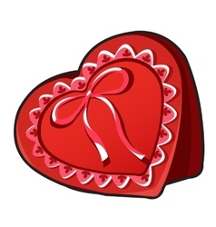 Red box in heart shape with ribbon vector image