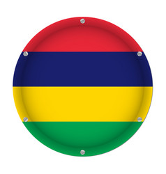round metallic flag of mauritius with screws vector image