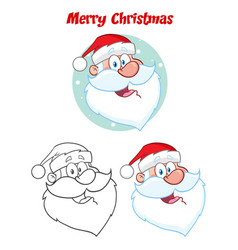 santa claus face character hand drawing collection vector image