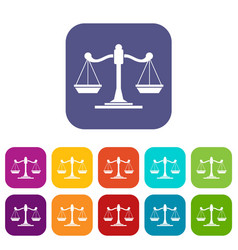 Scales of justice icons set vector