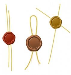 Seal waxes with cords vector
