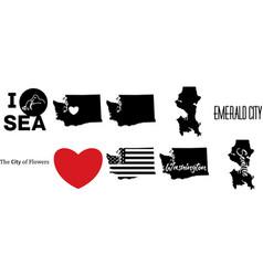 Seattle washington us map vector