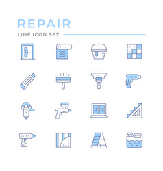 set color line icons repair vector image