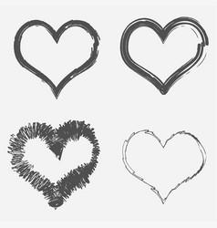 set grunge hearts vector image