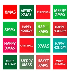 Set of 16 Merry Christmas Banner vector image
