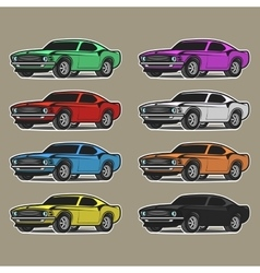 Set of cars in playful drawing style Different vector