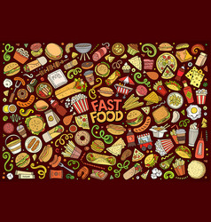 set of fast food objects and symbols vector image