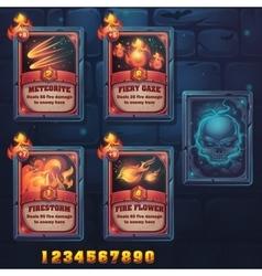 Set spell cards meteorite fiery gaze vector