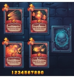 Set spell cards of meteorite fiery gaze vector