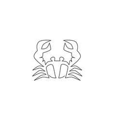 single continuous line drawing little crab vector image