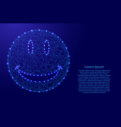 smile face from futuristic polygonal blue lines vector image
