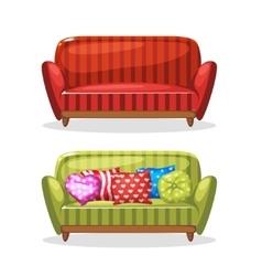 Sofa soft colorful homemade set 2 vector