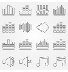 Soundwave or equalizer thin line icons set vector image