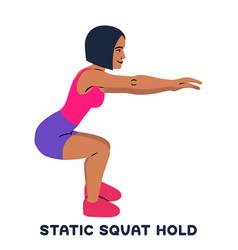 Static squat hold squat sport exersice vector
