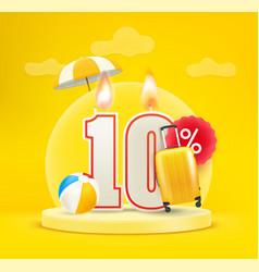 Summer season sale banner 10 percent discount vector