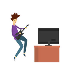 teenager playing video games and participating in vector image