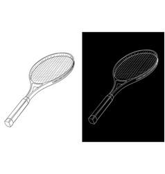 tennis racket hand drawn sketch vector image