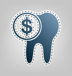 The cost of tooth treatment sign blue vector
