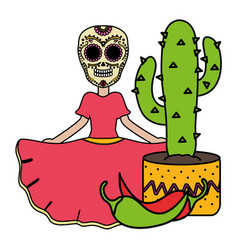traditional katrina with cactus and chilli pepper vector image