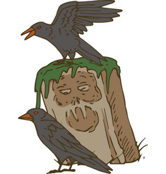 Two black crows and old gravestone vector