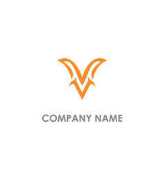 v unique initial logo vector image